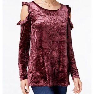 Ultra Flirt Crushed Velvet Cold Shoulder Shirt - S